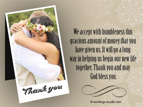 Thank You Notes For Money Enement Gift