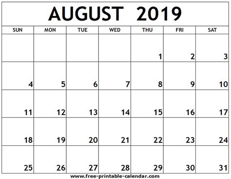 august printable calendar printable calendarcom