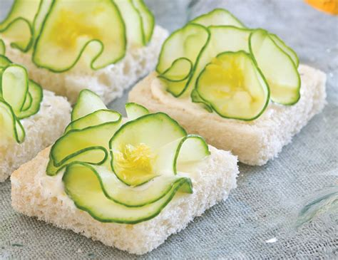 fresh canapes cucumber flower canapes