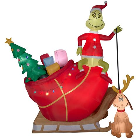 grinch inflatable airblown 12 ft pre lit grinch and max in sleigh colossal airblown