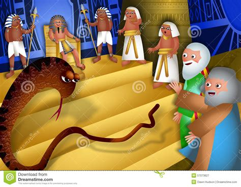 Moses And Aaron Before Pharaoh Stock Illustration