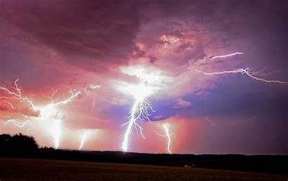 Lightning Powerful Clouds Pink Wallpapers Background Desktop
