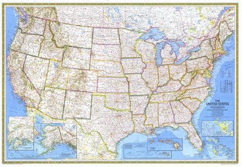 National Geographic United States Map 1976 Mapscom