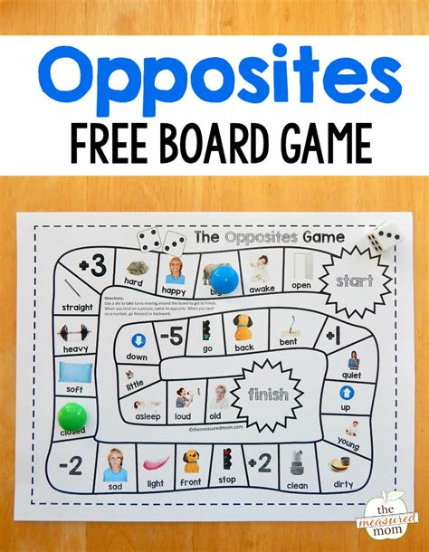 grab this and free opposites for preschool just 177 | opposites board game