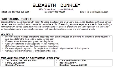 Curriculum Vitae Of A Social Worker by Social Worker Cv Sle