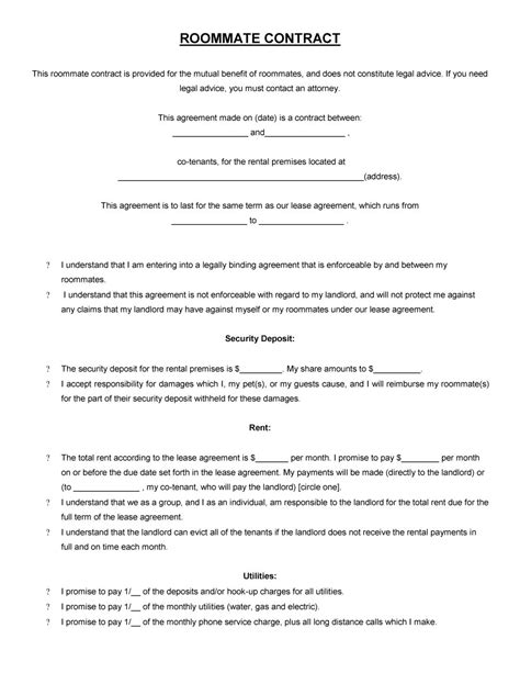 roommate agreement template 40 free roommate agreement templates forms word pdf