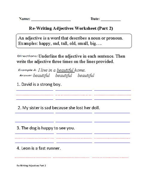 adjectives worksheets for 6th grade worksheets for all