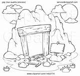 Mining Cave Clipart Coloring Entrance Template Sketch sketch template