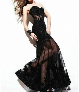 sexy long black applique evening ball gown formal prom With sexy black wedding dress