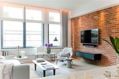 Interior Decor by Nyc Loft Style Penthouse With Brick Walls Takes Shape In