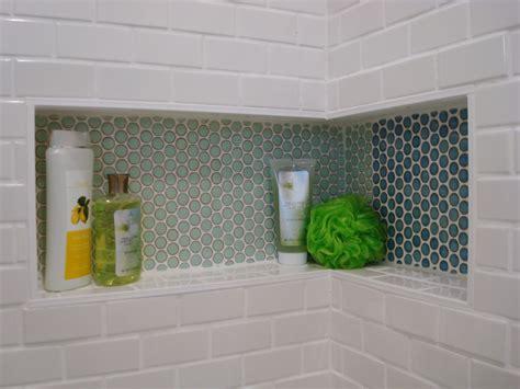 Bathroom Tile Shelf by Corner Shower Shelf Bathroom Midcentury With Accent Tiles
