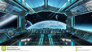 Spaceship Interior With View On Distant Planets System 3D ...