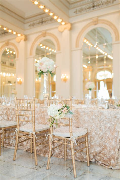 ivory blush  gold reception decor elizabeth anne