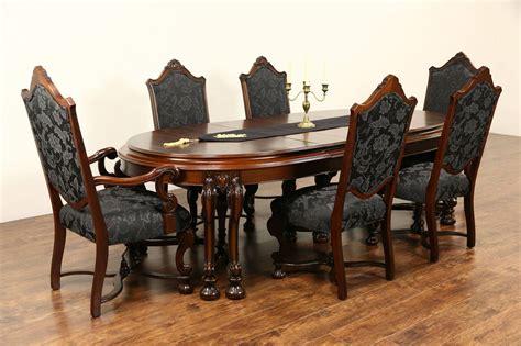 renaissance  antique dining set table  leaves