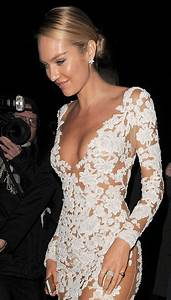 Candice Swanepoel Plunging Lace Gown Plunge Necklines
