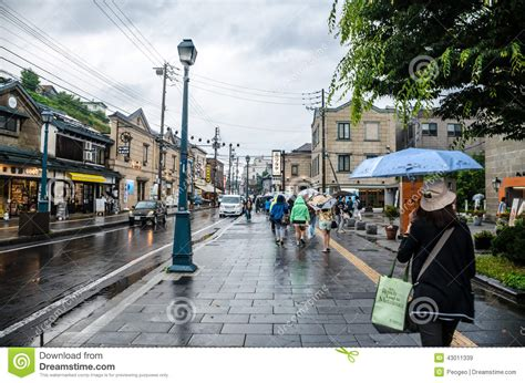 rainy day  otaru town hokkaido japan editorial stock