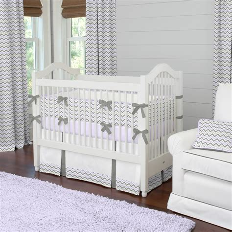 Baby Crib Bedding Chevron by Lilac And Slate Gray Chevron Crib Bedding Baby Bedding