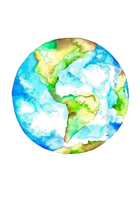 planet earth watercolour drawing art print earth day