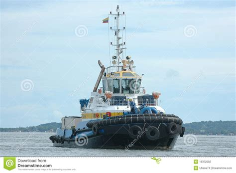 Yellow Tugboat by Blue And Yellow Tugboat 1 Stock Photography Image 16372502
