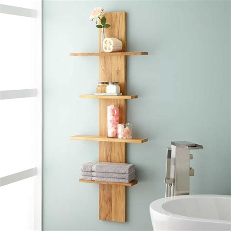 teak wood bathroom shelves bathroom decoration plan