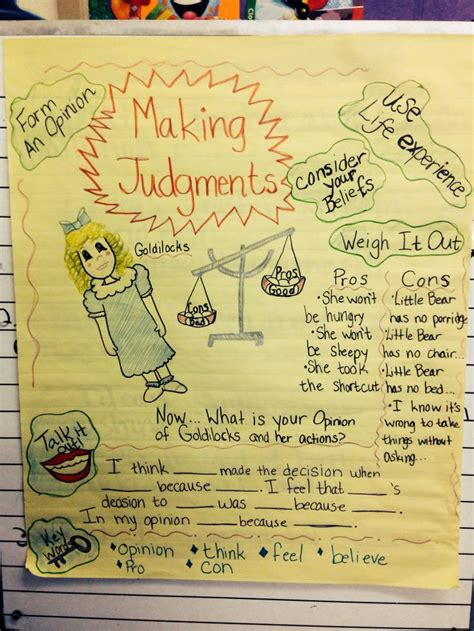 anchor chart  making judgements  lead  great