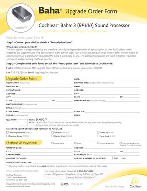 cochlear americas baha order form fillable online upgrade order form cochlear fax email