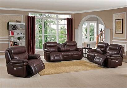 Sofa Leather Reclining Genuine Brown Loveseat 3pc