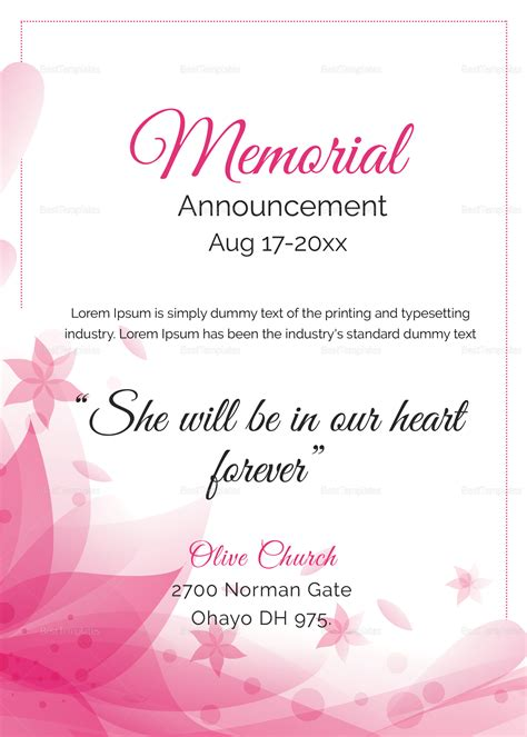 traditional funeral announcement template  mother