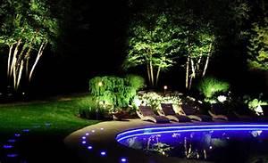 Landscape lighting ideas blue led pool luxury backyard for Led garden lighting ideas