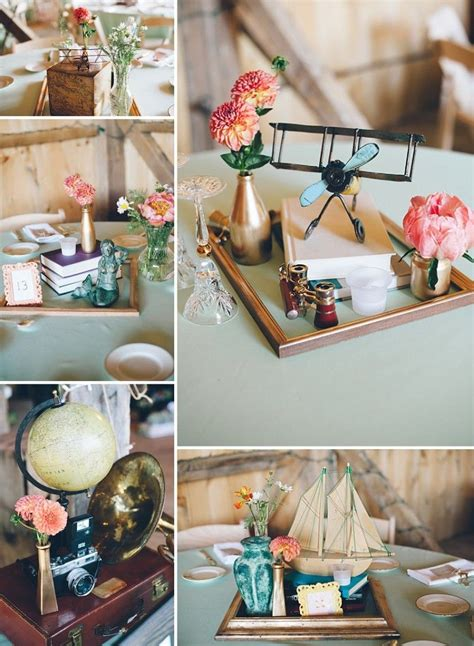 thrift store travel themed wedding centerpieces abby