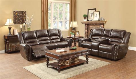 brown leather recliner sofa set homelegance center hill reclining sofa set dark brown