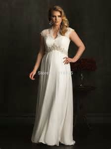 lace cap sleeve chiffon empire waist plus size maternity wedding dress summer bridal gowns - Plus Size Maternity Wedding Dresses