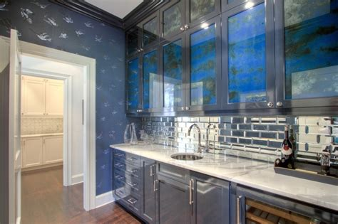 mirrored subway tiles butler pantry with mirrored subway tiles contemporary