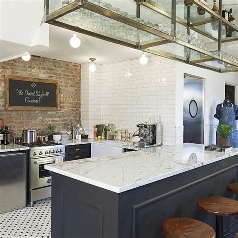 brick cuisine this kitchen brick wall tile floor open rack above for glasses kitchen