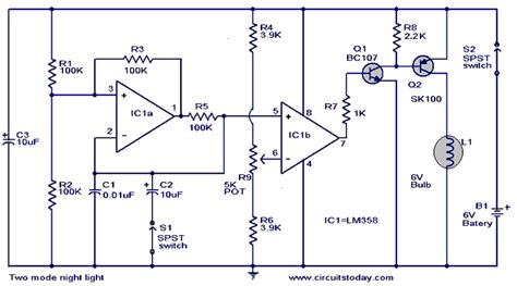 Two Mode Night Light Circuit Workingcircuit Diagram