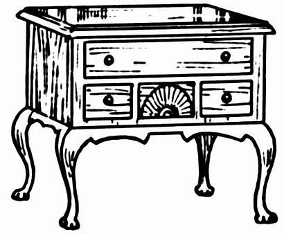 Clipart Dresser Lowboy Furniture Coloring Antique Chest