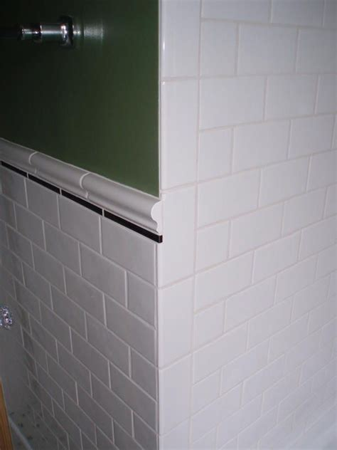subway tile  chair rail  vertical bullnose