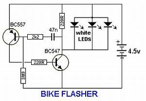 bike flasher this circuit will flash a white led or 23 4 With two transistor lamp flasher circuit diagram