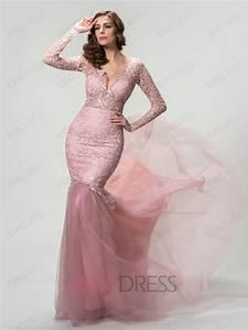 Mermaid Long Sleeves Deep V-Neck Evening Dress Designer ...
