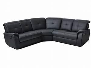 Canapé D Angle 6 Places : canap d 39 angle relaxation manuel 6 places ross coloris noir en pu vente de canap d 39 angle ~ Teatrodelosmanantiales.com Idées de Décoration