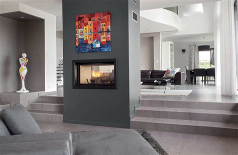 axis  double sided inbuilt wood fireplace