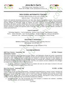 resume models for teachers math resume sle page 1