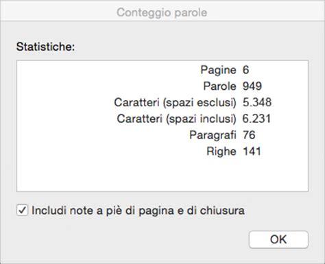 Conta Caratteri Testo by Visualizzare Il Conteggio Parole E Altro In Word Per Mac