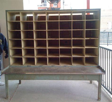 vintage industrial steel postal sorter cubby table retail