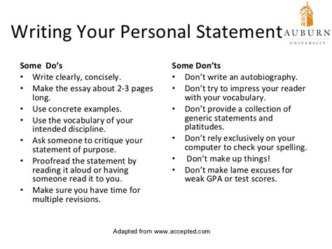 doc 12751650 personal statement exles for high school