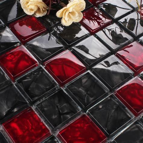 red  black crystal glass mosaic  bathroom shower