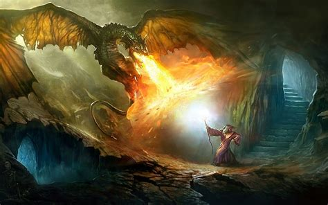 Wizard Fighting A Dragon