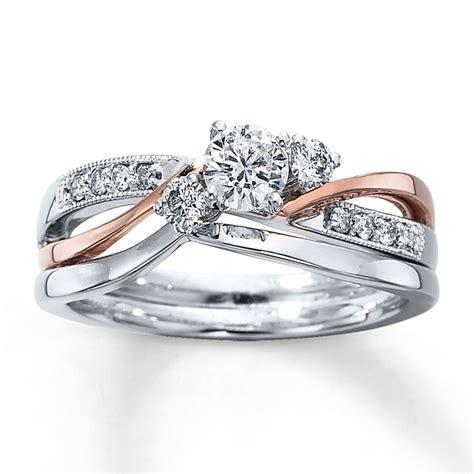 diamond bridal set 3 8 ct tw round cut 14k two tone gold