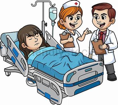 Hospital Patient Female Cartoon Clipart Staff Bed