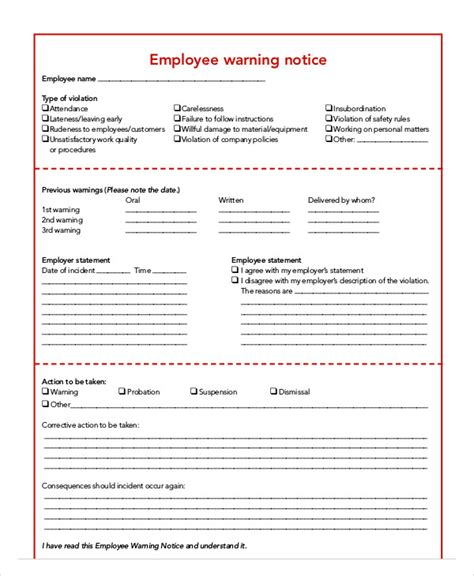 15626 employee warning form employee warning notice templates 7 free sles